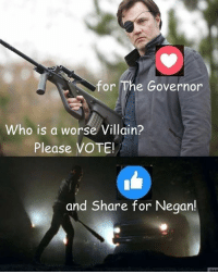 Memes, Vans, and Today: for The Governor  Who is a worse Villain?  Please VOTE!  and Share for Negan! #TheWalkingDead fans, after last night, please VOTE on this post today. :) (y)  Photo credit: Elliot Van Orman Productions