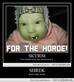 Shrekhttp://omg-humor.tumblr.com: FOR THE HORDE!  SKYRIM  Even babies know how awesome it is.  TASTE OFAWESOME.COM  Hitler hated this site too  SHREK  at his baby times.  TASTE OF AWESOME.COM  The #2 most addicting site Shrekhttp://omg-humor.tumblr.com