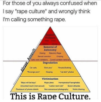"!!!!! ~ Luke: For those of you always confused when  I say ""rape culture"" and wrongly think  I'm calling something rape.  xplic  Violence  Removal of  Autonomy  Dosing Statutory Rape  Sexual coercion Groping  Safe word violations Covert condom remova  Degradation  Cat cals  Dick pics ThreatsStalking  Revenge porm  Groping  Up-skirt photos  Victimization  Boys will bo boys  Unwanted touch (non-sexual)  Rapo jokos  HomophobiaTransphobia  Sexist attitudes  ·Locker room talk""  Disclosuro of privato detals  Non-consensual photography  Victim blaming  This is Rape Culture. !!!!! ~ Luke"