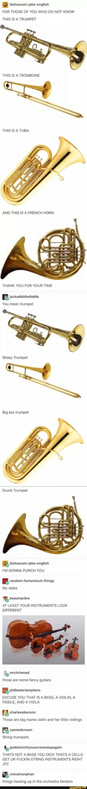 Ass, Drunk, and Thank You: FOR THOSE OF YOU WHO DO NOT KNOW  THIS IS A TRUMPET  THIS IS A TROMBONE  THIS IS A TUBA  AND THIS IS A FRENCH HORN  THANK YOU FOR YOUR TIME  You mean trumpet  Slidey Trumpet  Big ass trumpet  Drunk Trumpet  I'M GONNA PUNCH YOU  My sides  AT LEAST YOUR INSTRUMENTS LOOK  DIFFERENT  those are some fancy guitars  EXCUSE YOU THAT IS A BASS, A VIOLIN, A  FIDDLE, AND A VIOLA  Those are big mama violin and her little violings  String trumpets.  THATS NOT A BASS YOU DICK THATS A CELLO  GET UR FUCKIN STRING INSTRUMENTS RIGHT  JFC  things heating up in the orchestra fandonm