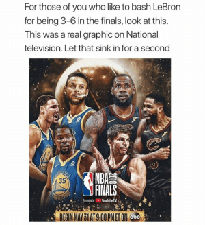 Tag a LeBron hater.  Via boonengage/Twitter https://t.co/GZRRCH5OLw: For those of you who like to bash LeBron  for being 3-6 in the finals, look at this.  This was a real graphic on National  television. Let that sink in for a second  COLD  WARN  BOUREN  35  STATE  NBA  FINALS  ARRIOEP  YouTubeTV  Presented by  BEGIN MAY 31 AT 9.00 PMET ON abc  2018  TATE Tag a LeBron hater.  Via boonengage/Twitter https://t.co/GZRRCH5OLw