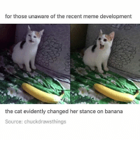 Meme, Memes, and Banana: for those unaware of the recent meme development  the cat evidently changed her stance on banana  Source: chuckdrawsthings From >:() to :D - Max textpost textposts