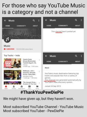 #ThankYouPewDiePie: For those who say YouTube Music  is a category and not a channel  Music  Music  HOME  COMMUNITY  ABOUT  HOME  COMMUNITY  ABOUT  This channel hasn't posted yet  Music  D SUBSCRIBE 105,933,508 subscribers  Top Tracks - India  Music  Vaaste Song  Dhvani Bhanushali,  Tanishk Bagchi   Ni  T-Series  3 weeks ago 151M views  aaste  HOME  COMMUNITY  ABOUT  MILLION+  VIEWS27  About  HD VIDEO  Rekkeyaa Solo l  Kavacha   Shivaraj  Kumar   Baby Mee..  Zee Music South  1 week ago 1.2M views  Rekkeyaa  Solo  YouTubes music destination featuring top  tracks and popular hits from a variety of  genres.  This channel was generated automatically by  4:43  The Jawaani Song -  Student Of The Year  You lube's video discovery system  Joined 24 Sep 2013  Trending Subscriptions  Library  Home  Inbox  #ThankYouPewDiePie  We might have given up, but they haven't won  Most subscribed YouTube Channel - YouTube Music  Most subscribed YouTuber - PewDiePie #ThankYouPewDiePie