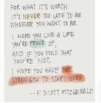Life, Live, and Girl Memes: FOR WHAT IT'S WORTH  IT's NEVER TOD LATE To BE  WHOEVER Yoy WANT TO BE.  HOPE yoM LIVE A LIFE  You' RE PROVD oF  AND IF You FIND THAT  you RE NOT  HOPE YOU HAVE THE  STREN STH TO START OVER  F SCOTT FITZGERALD ❤❤❤