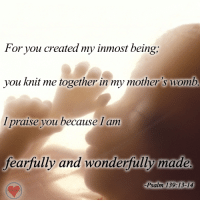 Memes, Mothers, and 🤖: For you created my inmost being,  you knit me together in my mother's womb  I praise you because I am  fearfully and wonderfully made  -Psalm 139:13-14 Amen!