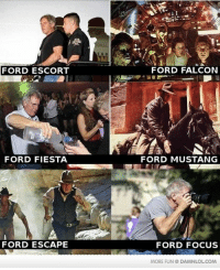 Memes, 🤖, and Ford Fiesta: FORD ESCORT  FORD FIESTA  FORD ESCAPE  Kit  FORD FALCON  FORD MUSTANG  FORD FOCUS  MORE FUN DAMNLOLCOM