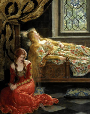 fordarkmornings:  The Sleeping Beauty, 1921. Details.John Collier (British, 1850–1934)Oil on canvas: fordarkmornings:  The Sleeping Beauty, 1921. Details.John Collier (British, 1850–1934)Oil on canvas