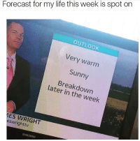Funny, Life, and Forecast: Forecast for my life this week is spot on  OUTLOOK  Very warm  Sunny  Breakdown  later in the week  ES WRIGHT  eswrighttv  SAMSUNG Don't, i repeat, Do NOT follow @donut if you are easily offended 🔞🔥