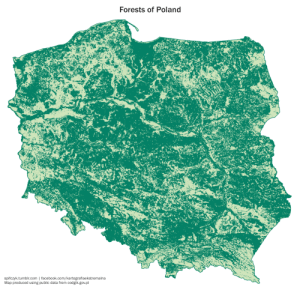Facebook, Tumblr, and Blog: Forests of Poland  fczyk.tumblr.com | facebook.com/kartografiaekstremalna  Map produced using public data from codgik.gov.pl spifczyk:  All forests of Poland