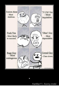 "okay guy: Forever Alone  Most  studious.  uc  Yea  Most likely  to succeed.  Rage Guy  Most  outrageous.  No  Guy  Most  inquisitive  Okay"" Guy  Most  dependable.  Cereal Guy  Class clown.  KarMar 11, ifunny.mobi"