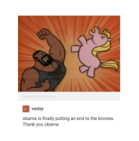 thanks Obama: forever90s.tumblr.com/  Vesley  obama is finally putting an end to the bronies.  Thank you obama thanks Obama