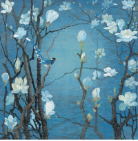 Tumblr, Birds, and Blog: forevernoon: Yuan Yunfu.                                                               Magnolia and birds on blue background