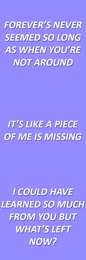 Tumblr, Blog, and Http: FOREVER'S NEVER  SEEMED SO LONG  AS WHEN YOU'RE  NOT AROUND   IT'S LIKE A PIECE  OF ME IS MISSING   I COULD HAVE  LEARNED SO MUCH  FROM YOU BUT  WHAT'S LEFT  NOW? lyricallymnded: lullabies // all time low