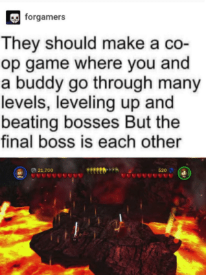 Final Boss, Game, and Make A: forgamers  They should make a co-  op game where you and  a buddy go through many  levels, leveling up and  beating bosses But the  final boss is each other  21,700  520 Can't wait for the new one next year