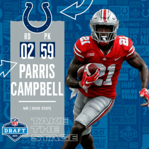 With the #59 overall pick in the 2019 @NFLDraft, the @Colts select WR Parris Campbell! #NFLDraft https://t.co/ZxOzzZiqR9: FORGE  DRAFT  5-27  INDIANAPOLIS  FORGED  OUR FUT  RD PK  B1G  PARRIS  CAMPBEL  LIS  INDY  AR  WR OHIO STATE  TAKE  NFL  DRAFT  25-27  VILLE  ESSEE  DRAFT  2019  2019 With the #59 overall pick in the 2019 @NFLDraft, the @Colts select WR Parris Campbell! #NFLDraft https://t.co/ZxOzzZiqR9