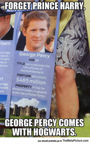 Prince, Prince Harry, and Tumblr: FORGET PRINCE HARRY  liam  bridge. George Percy  Baron  Knight  Most  arter,  AGE  6  TITLE  Set to become the  13th of Duke of  Northumberland.  Will inherit  $485 million  ttage  PROPERTY In lin  noved Ainwick Castle (Hogwarts  in the Harry Potterfilms).  се.  GEORGE PERCY COMES  WITH HOGWARTS  you should probably go to TheMetaPicture.com srsfunny:In Case You're Looking For A Prince