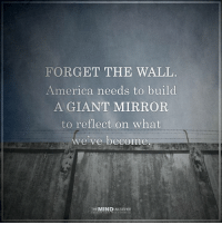 Yes. Image from The Mind Unleashed.: FORGET THE WALL  America needs to build  A GIANT MIRROR  to reflect on what  we've become  THE MINDULEASHED Yes. Image from The Mind Unleashed.