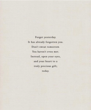 Precious, Heart, and Today: Forget yesterday  It has already forgotten you  Don't sweat tomorrow  You haven't even met.  Instead, open your eyes,  and your heart to a  truly precious gift;  today