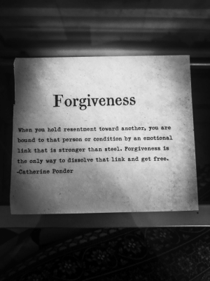 Tumblr, Blog, and Free: Forgiveness  When you hold resentment toward another, you are  bound to that person or condition by an emotional  link that is stronger than steel. Forgiveness is  the only way to dissolve that link and get free.  -Catherine Ponder sweetasruby:Forgiveness is key🔑