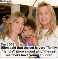 "Abc, Children, and Facts: forgreys  facts Fact 665  Ellen said that the set is very ""family  friendly"" since almost all of the cast  members have young children Fact 665😱 Ellen said that the set is very ""family friendly"" since almost all of the cast members have young children. — factsforgreys_set factsforgreys_ellen factsforgreys_castskids greys greysanatomy ellenpompeo meredithgrey merder dempeo shondaland abc ga tgit like facts like4like likeforlike dancemoms"