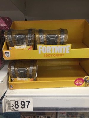 """Shit, Target, and Games: FORINNE  EPIC  T CHEST  EPIC  LOOT CHEST  GAMES  WEAPONS  BACK BLINGS &  BUILDING MATERIALS  FOR 4"""" FIGURES!  Assorted Each  8.97  Fortnite Loot Chest  -£8.97 each Lootboxes irl. This shit needs to stop. This is pretty much introductory gambling and is not ok to target kids with."""
