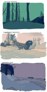actiosaurus:drawing from screencaps : FORLORN MUSKEG   TIMBERWOLF MOUNTAIN   DESOLATION POINT actiosaurus:drawing from screencaps