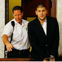 Former New England Patriot AaronHernandez has been found not guilty of 2012 double murder of two men outside a Boston nightclub. He is currently serving a sentence of life in prison without the possibility of parole for the murder of an acquaintance near his home in 2013. 📸: Jared Wickerman-Getty: Former New England Patriot AaronHernandez has been found not guilty of 2012 double murder of two men outside a Boston nightclub. He is currently serving a sentence of life in prison without the possibility of parole for the murder of an acquaintance near his home in 2013. 📸: Jared Wickerman-Getty