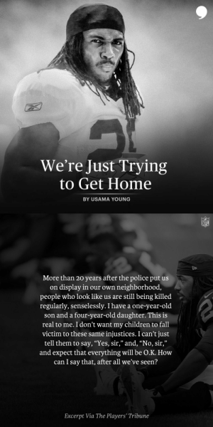 Former NFL player Usama Young speaks to his experience as a black man and father in America.  Read his full article via @PlayersTribune: https://t.co/kLzYPqqHa7 https://t.co/t1hK91nlTI: Former NFL player Usama Young speaks to his experience as a black man and father in America.  Read his full article via @PlayersTribune: https://t.co/kLzYPqqHa7 https://t.co/t1hK91nlTI