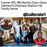 """Memes, Nfl, and Social Media: Former NFL RB Warrick Dunn Gave  Clemson's Deshaun Watson His  Family Home  Oballeralert Former NFL RB Warrick Dunn Gave Clemson's Deshaun Watson His Family Home - blogged by: @eleven8 - ⠀⠀⠀⠀⠀⠀⠀⠀⠀ ⠀⠀⠀⠀⠀⠀⠀⠀⠀ You never know how the good you do for someone today will shape them in the future. ⠀⠀⠀⠀⠀⠀⠀⠀⠀ ⠀⠀⠀⠀⠀⠀⠀⠀⠀ Following the ClemsonTigers winning a national title, a photograph of a young DeshaunWatson and Warrick Dunn began floating around on social media. WarrickDunn, who played 12 seasons in the NFL, is known to be very charitable. In the photo dated November 2006, Dunn, alongside Habitat for Humanity, presented Watson's family with a new, fully furnished, four bedroom, two-bath home. ⠀⠀⠀⠀⠀⠀⠀⠀⠀ ⠀⠀⠀⠀⠀⠀⠀⠀⠀ Deshaun Watson's mother,Deann, raised four children on her own in a cramped apartment in Gainesville, GA. One day, an 11-year-old Deshaun brought home a note from Habitat for Humanity. His mother jumped to the opportunity and worked 300 + hours to help build homes for needy single parent families before being presented with a home of her own. ⠀⠀⠀⠀⠀⠀⠀⠀⠀ ⠀⠀⠀⠀⠀⠀⠀⠀⠀ """"I felt grown having my own room,"""" Watson recalled on Saturday. """"Just having my own bed, not really being squished, not really worrying about someone sneaking up on me, it was a great moment, a special moment."""" ⠀⠀⠀⠀⠀⠀⠀⠀⠀ ⠀⠀⠀⠀⠀⠀⠀⠀⠀ Through Warrick Dunn's charitable foundation, the future college quarterback's new home was fully furnished right down to a fully stocked refrigerator. ⠀⠀⠀⠀⠀⠀⠀⠀⠀ ⠀⠀⠀⠀⠀⠀⠀⠀⠀ """"We just try to help put people in safer environments and give kids an opportunity,"""" Dunn said. """"You never know what impact you will have. You hope it's a positive impact."""" ⠀⠀⠀⠀⠀⠀⠀⠀⠀ ⠀⠀⠀⠀⠀⠀⠀⠀⠀ For Watson, his family home was a huge part of his development into one of college football's biggest stars."""