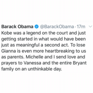 Former President #BarackObama spoke on the news of #KobeBryant and #GiannaBryant's passing today 🙏 @BarackObama #RIPKobeBryant #RIPGiannaBryant https://t.co/aHDrQBEF7p: Former President #BarackObama spoke on the news of #KobeBryant and #GiannaBryant's passing today 🙏 @BarackObama #RIPKobeBryant #RIPGiannaBryant https://t.co/aHDrQBEF7p