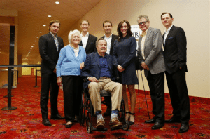 Former President George H.W. Bush and Actress Heather Lind (AMC's Turn), whom he just groped: Former President George H.W. Bush and Actress Heather Lind (AMC's Turn), whom he just groped