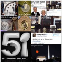 On 2.3.2002 during SuperBowl 36 Patriots win 20-17 (2017) over Rams Following the 911 attacks under President GeorgeBush — 🔹The 36th day of year is SuperBowl51 Feb. 5 (2.5) Patriots vs. Falcons Doomsday Clock was changed to (2.5) minutes till midnight (Jewish calendar is 9.11.5777 on 2.5) — 🔹Former President George H.W. Bush and his wife Barbara Bush will flip the coin before the 2017 Super Bowl LI (on 9.11) — 🔹Remember in 2002 after 911 the NFL was delayed until Feb. the Patriots won 20-17 (2017) it was definitely patriotic after 911 wasn't it? — 🔹In 2017 the Patriots are back, but not so patriotic today. We need something to bring us back to that time...like a birth (Falcon- Horus) SUNworship Superbowl superbowl51 Watching Observing Freethinker openmind awake consciousness Spiritual Yah HalleluYah Love Faith OneLove WhatIview: Former President George H.W.  Bush and Barbara Bush to Do  Super Bowl LI Coin Toss  Aler Ungerman PM PST february 01.2017  George Bush  Getting fired up for Sunday and  IT IS TWO AND A HALF  ISuperBowl.  NMINUTES TO MIDNIGHT  2.48 PM Feb 2017  2.5 minutes to midnight  D.c 5 ist state  2.5 (Feb. 5) Super Bowl si  Doornsda  George Bush  Follow  @George HWBush  Getting fired up for Sunday and  #SuperBowl.  3:48 PM 1 Feb 2017  @nycsawake  SUPER EBOVNL  HOUSTON TEXAS  2 5 2017 On 2.3.2002 during SuperBowl 36 Patriots win 20-17 (2017) over Rams Following the 911 attacks under President GeorgeBush — 🔹The 36th day of year is SuperBowl51 Feb. 5 (2.5) Patriots vs. Falcons Doomsday Clock was changed to (2.5) minutes till midnight (Jewish calendar is 9.11.5777 on 2.5) — 🔹Former President George H.W. Bush and his wife Barbara Bush will flip the coin before the 2017 Super Bowl LI (on 9.11) — 🔹Remember in 2002 after 911 the NFL was delayed until Feb. the Patriots won 20-17 (2017) it was definitely patriotic after 911 wasn't it? — 🔹In 2017 the Patriots are back, but not so patriotic today. We need something to bring us back to that time...like a birth (Falc