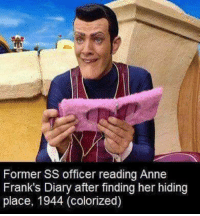frank: Former SS officer reading Anne  Frank's Diary after finding her hiding  place, 1944 (colorized)