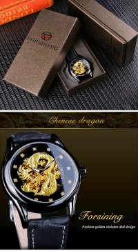 Fashion, Tumblr, and Australia: FORSI N ING   Chinese dragon  Fashion golden skeleton dial design novelty-gift-ideas:Newest Mechanical Watch For Men With Style - THE GOLDEN DRAGONFREE SHIPPING for USA, Canada, UK, AUSTRALIA  Germany