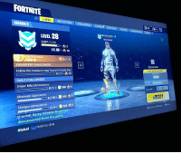 "Party, Ps4, and Squad: FORTNITE  BATTLE PASS CHALLENGES LOCKER  TESM SHOP ROFAE LASONCG  LEVEL 28  2,037 /2,300  Net Ready  UL30 >内10  BATTLE PASS  4/10  SUGGESTED CHALLENGES  圧1  Follow the treasure map found in Dusty Der  New Mode Aals  DAILY CHALLENGES  SOUAD  Sniper Rifle Eliminations  Mode  Squad隧  Eliminate Opponents  500内5  8110>  OREADY  Shotgun Eliminations  [744 PM] Party: Exottix-Ninja has  disconnected from the party  @nspectChalerges写News  Hold to chat  Global L if u have PS4, add me on fortnite, only if ur good @- "" michalesh """