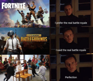 welovegamingz:  The real battle Royale: FORTNITE  I prefer the real battle royale  PLAYERUNKNOWN'S  BATTLEGROUNDS  I said the real battle royale  Perfection welovegamingz:  The real battle Royale