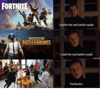 The Real, Battle Royale, and Real: FORTNITE  I prefer the real battle royale  PLAYERUNKNOWN'S  HATTLEGROUNDS  I said the real battle royale  Perfection The REAL battle royale https://t.co/KENgJxrYy1