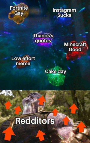 It is what it is: Fortnite  Instagram  Sucks  Gay  Thanos's  quotes  Minecraft  Good  Low effort  meme  Cake day  Redditors It is what it is