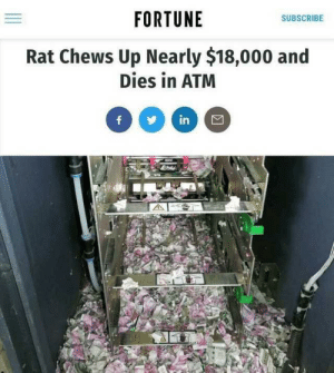 Dank, Memes, and Target: FORTUNE  SUBSCRIBE  Rat Chews Up Nearly $18,000 and  Dies in ATM meirl by ClashIdeas MORE MEMES