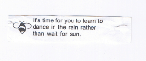 fortuneaday:[A white fortune cookie paper with black text on the front and an icon of a bee. It reads: It's time for you to learn to dance in the rain rather than wait for sun.]: fortuneaday:[A white fortune cookie paper with black text on the front and an icon of a bee. It reads: It's time for you to learn to dance in the rain rather than wait for sun.]
