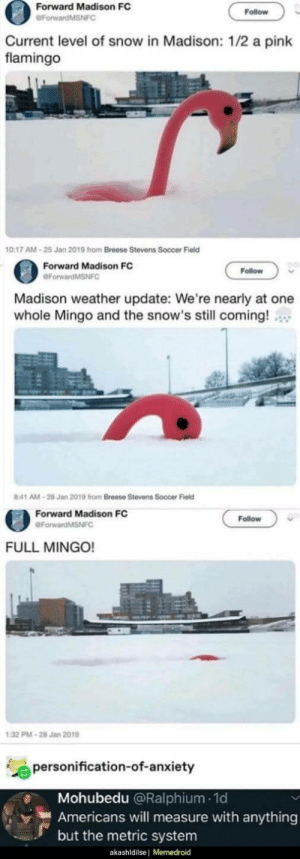 A full flamingo…: Forward Madison FC  Follow  GForwardMSNFC  Current level of snow in Madison: 1/2 a pink  flamingo  10:17 AM - 25 Jan 2019 from Breese Stevens Soccer Field  Forward Madison FC  Follow  OForwardMSNFC  Madison weather update: We're nearly at one  whole Mingo and the snow's still coming!  8:41 AM - 28 Jan 2019 from Breese Stevens Soccer Field  Forward Madison FC  Follow  eForwardMSNFC  FULL MINGO!  1:32 PM - 28 Jan 2019  personification-of-anxiety  Mohubedu @Ralphium - 1d  Americans will measure with anything  but the metric system  akashldilse | Memedroid A full flamingo…