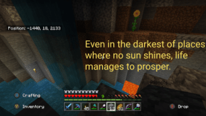 Life, World, and Sun: Fosition: -1440, 18, 2133  Even in the darkest of places  where no sun shines, life  manages to prosper.  Plooots  YY  Crafting  bb 6  Inventory  Drop  31 Its the little thing's that count in this vastly seemingly infinite generated world.