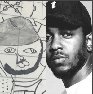 Found a picture I drew of Kendrick Lamar when I was 8, what do y'all think: Found a picture I drew of Kendrick Lamar when I was 8, what do y'all think