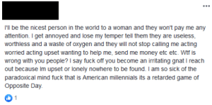 Found on Facebook; I didn't realize I knew a nice guy. Being an American Millennial is a retarted game of opposite day apparently: Found on Facebook; I didn't realize I knew a nice guy. Being an American Millennial is a retarted game of opposite day apparently