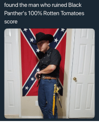 <p>/r/asianpeoplegifs snapped (via /r/BlackPeopleTwitter)</p>: found the man who ruined Black  Panther's 100% Rotten Tomatoes  score <p>/r/asianpeoplegifs snapped (via /r/BlackPeopleTwitter)</p>