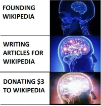 Just Do It, Reddit, and Wikipedia: FOUNDING  WIKIPEDIA  WRITING  ARTICLES FOR  WIKIPEDIA  DONATING $3  TO WIKIPEDIA