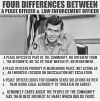 Community, Meme, and Memes: FOUR DIFFERENCES BETWEEN  A PEACE OFFICER & LAW ENFORCEMENT OFFICER  FBYPOLICETHEPOLICEACP  A PEACE OFFICER IS PART OF THE COMMUNITY, NO DIFFERENT FROM  1. THE RESIDENTS, NO 'US VS THEM' MENTALITY, NO RESENTMENT.  A PEACE OFFICERS PRIDRITY IS MAINTAINING PEACE. NOT ACTING AS  2. AN ENFORCER. FOCUSED ON DEESCALATION NOT ESCALATION.  A PEACE OFFICER LOOKS FOR COMMON SENSE SOLUTIONS RATHER  3. THAN USING LEGAL AUTHORITY TO THREATEN OR ARREST  4, GENUINELY CARES ABOUT THE PEOPLE OF THE COMMUNITY  HAS THEIR BEST INTEREST AT HEART WHICH BUILDS TRUST Join our new group for the latest updates:  Police Accountability & Filming Cop Community Thanks to Police The Police for the meme