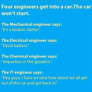 "Just like the router: Four engineers get into a car.The car  won't start.  The Mechanical engineer says:  ""It's a broken starter"".  The Electrical engineer says:  ""Dead battery"".  The Chemical engineer says:  ""Impurities in the gasoline"".  The IT engineer says:  ""Hey guys, I have an idea how about we all get  out of the car and get back in"". Just like the router"