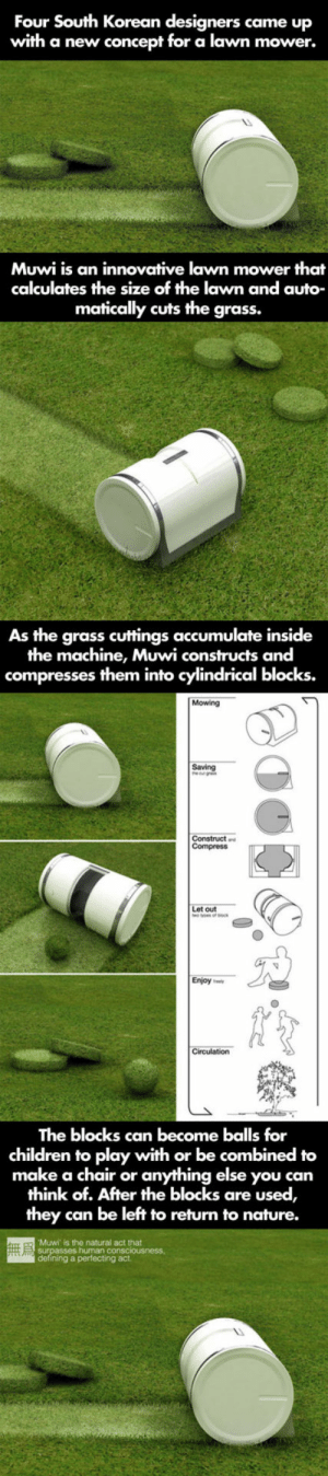 Children, Tumblr, and Blog: Four South Korean designers came up  with a new concept for a lawn mower.  Muwi is an innovative lawn mower that  calculates the size of the lawn and auto  matically cuts the grass.  As the grass cuttings accumulate inside  the machine, Muwi constructs and  compresses them into cylindrical blocks.  Mowing  Saving  out  Enjoy ee  The blocks can become balls for  children to play with or be combined to  make a chair or anything else you can  think of. After the blocks are used,  they can be left to return to nature.  Muwi is the natural act that  g a perfecting act srsfunny:The Clever Muwi Lawn Mower