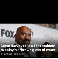 Drinking, Memes, and Shit: FOX  Celebrity  Steve Harvey tells a Flint resident  to enjoy his brown glass of water'  2 hours ago 480 likes 💀💀💀😭 y'all n[does this word really offend people? I mean it's just six letters]iggas drinking toilet water or some shit